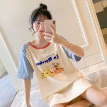 Nightdress Other / other Light blue, sky blue, blue, apricot, ginger, yellow, pink, bean paste red, bean paste powder, D-1 yellow, D-2 blue, cherry red, hazelnut, peach red 160(M),165(L),170(XL),175(XXL) Cartoon Short sleeve pajamas Middle-skirt summer Cartoon animation youth Crew neck cotton cotton