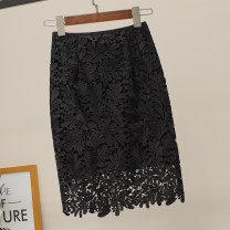 skirt Winter 2015 S,M,L,XL,2XL,3XL White, black Middle-skirt commute High waist skirt Solid color Type H 25-29 years old 81% (inclusive) - 90% (inclusive) Lace other Hollowed out, Gouhua hollowed out, zipper, lace Korean version