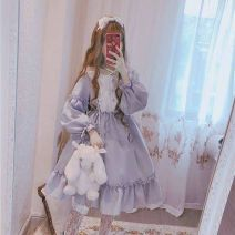 Dress Winter 2016 Light blue, light gray (only one size M is one size), pink, black and white, short sleeve black, short sleeve blue gray, blue gray stripe long sleeve, black stripe long sleeve, smoke pink, dark brown + bear bow (big neckline, blue + bear bow (big neckline) Mid length dress
