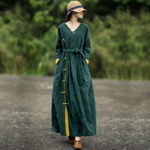 Dress Winter of 2019 green S-7 days, M-7 days, l-7 days, xl-7 days, xxl-7 days, thickening and lining longuette singleton  Long sleeves commute V-neck middle-waisted Solid color Socket Big swing other Hanging neck style literature Button, wave, strap, stitching, lace up, pocket, fold other hemp