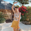 Split swimsuit Yi Meishan Yellow swimsuit + mobile phone waterproof bag swimsuit + a cup silica gel bra + B cup silica gel bra + C cup silica gel bra M recommended weight 88-100 kg l recommended weight 100-118 kg XL recommended weight 118-128 kg Skirt split swimsuit Steel strap breast pad YMS209215