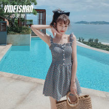 one piece  Yi Meishan S M L XL XXL green One piece flat corner swimsuit With chest pad without steel support Spandex polyester YMS209115 Autumn of 2019 no female Sleeveless Casual swimsuit Lattice wave point others backless