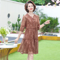 Middle aged and old women's wear Summer 2020 Purplish red, bean paste XL [suggested 90-108 kg], 2XL [suggested 108-123 kg], 3XL [suggested 123-133 kg], 4XL [suggested 133-145 kg], 5XL [suggested 145-162 kg] fashion Dress easy singleton  50-59 years old Socket moderate Polo collar Medium length SY0717