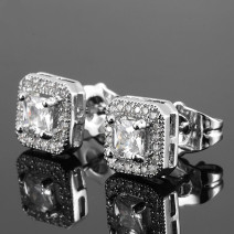 Ear Studs Alloy / silver / gold 30-39.99 yuan 10x1 Silver (pair) brand new Europe and America goods in stock Fresh out of the oven
