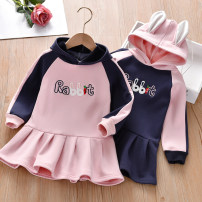 Dress Pink rabbit ear Hooded Dress, royal blue rabbit ear Hooded Dress female Thepigbaby 90cm.,100cm.,110cm.,120cm.,130cm. Cotton 90% other 10% winter Korean version Long sleeves Cartoon animation cotton A-line skirt x19019 Class B 2 years old, 3 years old, 4 years old, 5 years old, 6 years old