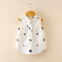 shirt White embroidered flower shirt, white bear shirt, Pink Embroidered Flower shirt Thepigbaby female 90cm.,100cm.,110cm.,120cm.,130cm. summer other leisure time other cotton Lapel crew neck Other 100% J18010 Class B
