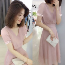 Dress Autumn of 2019 Lotus root pink, pink (short sleeve) S,M,L Mid length dress singleton  Long sleeves street Crew neck High waist Solid color Socket A-line skirt routine Others Type A Fanlis F192t02015p More than 95% other polyester fiber Europe and America