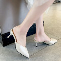 slipper 35 36 37 38 39 40 Shia Mandi Black Beige Fine heel High heel (5-8cm) PU Summer 2020 Baotou rubber daily Korean version Adhesive shoes Youth (18-40 years old) Solid color Shallow mouth PU PU Shaving