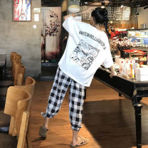 Women's large Summer 2020, spring 2020 White top + black pants, pink top + pink pants Large L, large XL, large XXL, s, m, 3XL, 4XL trousers Two piece set commute easy moderate Socket elbow sleeve Cartoon animation Korean version Crew neck Medium length printing and dyeing routine Ninth pants