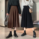 skirt Spring 2021 Average size Black, brown Mid length dress Versatile High waist A-line skirt Solid color Type A 18-24 years old