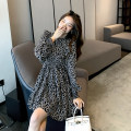 Dress Spring 2021 black S,M,L Mid length dress singleton  Short sleeve commute Crew neck High waist Decor Socket A-line skirt routine Others 25-29 years old Type A Korean version printing other