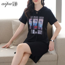 Women's large Summer 2021 black L (115-125 Jin recommended) XL (125-140 Jin recommended) 2XL (140-155 Jin recommended) 3XL (155-170 Jin recommended) 4XL (170-185 Jin recommended) 5XL (185-210 Jin recommended) Dress singleton  commute easy moderate Socket Short sleeve Simplicity routine Aipu