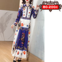 Women's large Spring 2021, summer 2021, winter 2021, autumn 2021 Decor Large XL, 2XL, 3XL, 4XL, 5XL Dress singleton  commute Straight cylinder moderate Socket Long sleeves Korean version Polo collar Medium length Polyester, cotton, others printing and dyeing raglan sleeve 35-39 years old Embroidery