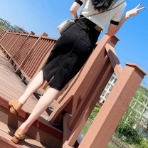 skirt Summer 2021 S M L XL black Mid length dress commute High waist Denim skirt Solid color Type A 18-24 years old 71% (inclusive) - 80% (inclusive) Denim Late smoke cotton Pocket make old button zipper Korean version Cotton 71% polyester 27% polyurethane elastic fiber (spandex) 2%