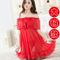 Pajamas / housewear set female Other / other Large size (100-220 kg) Black, red, purple, jujube nylon camisole pajamas Thin money V-neck Solid color 2 pieces 61% (inclusive) - 80% (inclusive) Mesh fabric Short skirt