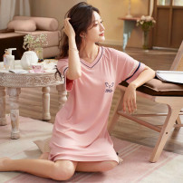 Nightdress Other / other 2172 bean paste powder, 2172 fog blue, 2175 bean paste powder, 21742171 fog blue 160(M),165(L),170(XL),175(XXL) Simplicity Short sleeve Leisure home Middle-skirt summer Solid color youth V-neck viscose  Embroidery 41% (inclusive) - 60% (inclusive) pure cotton