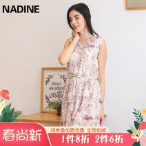 Dress Summer 2021 Pink Pipa flower green Pipa flower S M L XL XXL XXXL Middle-skirt singleton  Sleeveless commute V-neck middle-waisted Decor Socket Cake skirt 25-29 years old NADINE court Three dimensional decorative printing of Auricularia auricula C133127 More than 95% Chiffon polyester fiber