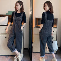 Jeans Spring 2021 Black [high quality] M,L,XL,2XL,3XL,4XL trousers High waist rompers thickening 25-29 years old washing Cotton denim Dark color Other / other 30% and below