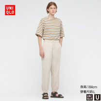 Casual pants UNIQLO / UNIQLO other 01 cream 09 black 57 Dark Olive 160/64A/XS 165/72A/S 170/80A/M 175/88A/L 180/96B/XL 185/104C/XXL trousers Other leisure Straight cylinder UQ437299000 2021 Cotton 100% Spring 2021