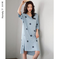 Nightdress Carrefen A822777 fog blue a822778 light bean green a822776 light powder 1 2 3 4 5 M L XL XXL XXXL 4XL Simplicity Middle sleeve Leisure home Middle-skirt summer Dot youth V-neck viscose  Sticking cloth 41% (inclusive) - 60% (inclusive) Modal fabric A822777 Summer 2020