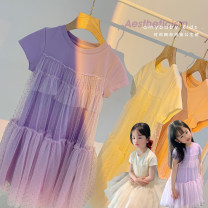 Dress Pink, cream apricot, lavender female Amybaby 80cm, 90cm, 100cm, 120cm, 130cm, 150cm, 110cm (Baoer photo code), 140cm (Amy life code) Other 100% summer Sweet Short sleeve Solid color other Splicing style Fashionable princess skirt with mesh stitching other