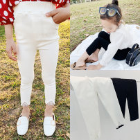 trousers Amybaby female 6-12 months, 1-2 years old, 2-3 years old, 3-4 years old, 4-5 years old, Amy photo code, 5-6 years old, Amy life code, 6-7 years old, 7-8 years old, 8-9 years old White, black spring and autumn trousers There are models in the real shooting Leggings Leather belt middle-waisted