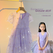 Dress Dream purple female Amybaby 80cm, 90cm, 100cm, 120cm, 130cm, 150cm, 110cm (Baoer photo code), 140cm (Amy life code) Other 100% summer princess Short sleeve stars other Princess Dress V-neck bubble sleeve princess skirt other