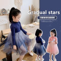 Dress Gradient blue, gradient Pink female Amybaby 80cm, 90cm, 110cm, 120cm, 140cm, 150cm, 100cm (Baoer photo code, 130cm (Amy life code) Other 100% spring and autumn lady Long sleeves other other Splicing style Gradient star skirt other