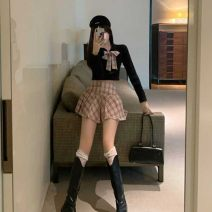 Dress Winter 2020 Black suit, white suit S,M,L Short skirt Two piece set Long sleeves Sweet V-neck High waist lattice Socket A-line skirt routine Others 18-24 years old Type A bow 864VG8644àf More than 95% other other