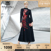 Dress Autumn of 2019 black 36/S 38/M 40/L 42/XL 44/2XL 46/3XL longuette Long sleeves stand collar Socket Big swing routine 35-39 years old My Teno / Martino 31% (inclusive) - 50% (inclusive) cotton