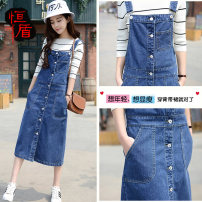 skirt Spring 2020 26 27 28 29 30 31 32 33 34 36 38 40 blue longuette fresh High waist Strapless skirt Solid color Type A 18-24 years old HD05648B346 More than 95% Denim Hengdun cotton Button Cotton 100% Pure e-commerce (online only)