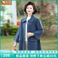 Middle aged and old women's wear Spring 2021 Navy coat grey coat red coat camel coat Navy two piece suit (coat + inside) grey two piece suit (coat + inside) red two piece suit (coat + inside) camel two piece suit (coat + inside) fashion Jacket / jacket easy singleton  Solid color 40-49 years old