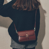 Bag Inclined shoulder bag PU Small square bag Jane beauty Retro brown red brown black brand new Retro Small leisure time soft Magnetic buckle no youth
