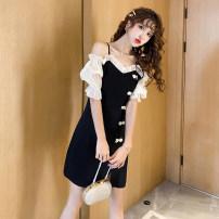T-shirt black L,XL,2XL,3XL,4XL Summer 2020 Short sleeve One word collar Self cultivation Medium length puff sleeve commute cotton 51% (inclusive) - 70% (inclusive) 25-29 years old Korean version Zipper, stitching