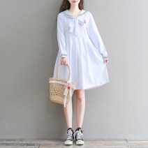 Dress Autumn 2020 White, Navy S,M,L,XL,2XL Mid length dress singleton  Long sleeves Sweet Admiral Loose waist Solid color Socket A-line skirt routine Type A 51% (inclusive) - 70% (inclusive) solar system