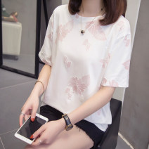 Women's large Summer of 2019 6302 white L [about 90-120 kg recommended], XL [about 120-140 kg recommended], 2XL [about 140-160 kg recommended], 3XL [about 160-180 kg recommended], 4XL [about 180-200 kg recommended] T-shirt singleton  commute easy moderate Socket Short sleeve Solid color Crew neck