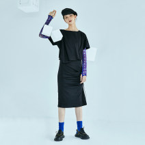 Dress Summer 2021 Box Black Box Black second batch S M L XL Middle-skirt other Short sleeve Crew neck other Socket other 25-29 years old Type H The sun is shining 21X6309L More than 95% other cotton Cotton 100% Pure e-commerce (online only)