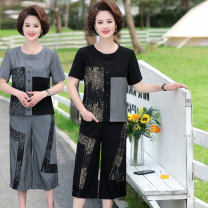 Middle aged and old women's wear Summer 2021 Black grey XL 2XL 3XL 4XL 5XL fashion suit easy Two piece set other 40-49 years old Socket moderate Crew neck routine routine Xinxing 1713-a151-58 Wufu deer other Other 100% 96% and above Pure e-commerce (online only) Cropped Trousers