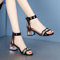 Sandals 35,36,37,38,39,40 PU Other / other Barefoot Thick heel Middle heel (3-5cm) Spring 2021 Flat buckle Europe and America Solid color Adhesive shoes rubber daily Front and rear trip strap Low Gang Lateral space PU PU Roman shoes Patent leather