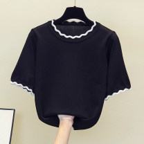 Women's large Summer 2021 White, black XL [100 ~ 130 Jin], 2XL [130 ~ 150 Jin], 3XL [150 ~ 170 Jin], 4XL [170 ~ 200 Jin] T-shirt singleton  easy thin Socket Short sleeve Solid color Crew neck routine cotton Other / other other
