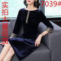 Dress Autumn of 2018 Black, Burgundy, blue, navy M,L,XL,2XL,3XL,4XL Mid length dress singleton  Long sleeves commute Crew neck Loose waist Solid color Socket A-line skirt routine Others 40-49 years old Type A Retro Three dimensional decoration 71% (inclusive) - 80% (inclusive) other
