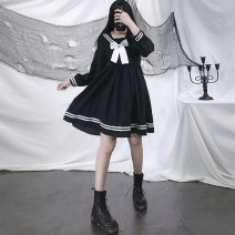 Dress Spring 2021 black Average size Mid length dress singleton  Long sleeves Sweet Admiral High waist Solid color zipper Princess Dress bishop sleeve 18-24 years old Type A bow solar system