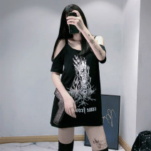 T-shirt black S,M,L Summer 2021 Short sleeve other easy Medium length street other 86% (inclusive) -95% (inclusive) 18-24 years old originality character G19070901 Asymmetry, print, holes Punk