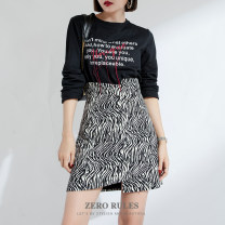 skirt Spring 2021 XS,S,M,L,XL Zebra pattern street High waist 25-29 years old More than 95% Zero rules polyester fiber Europe and America