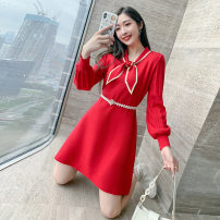 Dress Winter 2020 Black, red Average size Short skirt singleton  Long sleeves commute Scarf Collar High waist Solid color Socket A-line skirt bishop sleeve Others 25-29 years old Type A Other / other Bow, thread, stitching, contrast, tie / belt C501 71% (inclusive) - 80% (inclusive) knitting