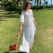 Dress Summer 2021 white S,M,L,XL longuette singleton  elbow sleeve Sweet V-neck Elastic waist Solid color Socket other routine Others 18-24 years old Type A Hollowed out, stitched, strapped, lace 71% (inclusive) - 80% (inclusive) brocade cotton Bohemia