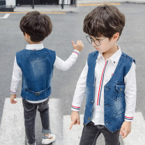 Vest male Other / other spring and autumn routine There are models in the real shooting Single breasted Korean version Denim Chinese Mainland 18 months, 2 years old, 3 years old, 4 years old, 5 years old, 6 years old, 7 years old, 8 years old, 9 years old, 10 years old