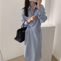 Dress Autumn 2020 Blue, black S,M,L,XL Mid length dress singleton  Long sleeves commute Polo collar High waist Solid color Single breasted other shirt sleeve Others 18-24 years old Korean version Button More than 95% polyester fiber