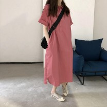 Dress Summer 2020 Blue, pink S,M,L,XL Mid length dress singleton  Short sleeve commute Polo collar Loose waist Solid color Single breasted A-line skirt routine Others 18-24 years old Type A Korean version 30% and below cotton