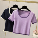 Women's large routine Summer 2021 commute Short sleeve V-neck Solid color 18-24 years old Self cultivation other have cash less than that is registered in the accounts 31% (inclusive) - 50% (inclusive) XL 90-135kg, 2XL 135-170kg, 3XL 170-200kg Purple, dark blue